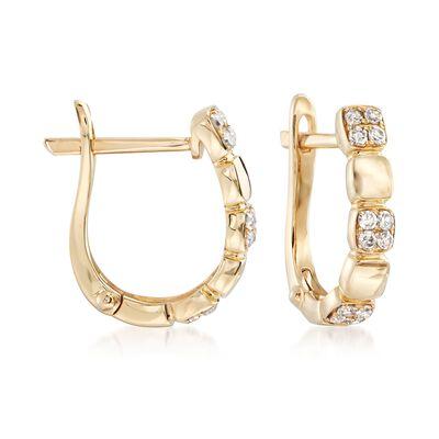 .20 ct. t.w. Pave Diamond Hoop Earrings in 14kt Yellow Gold, , default