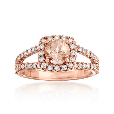 .80 Carat Morganite and .48 ct. t.w. Diamond Ring in 14kt Rose Gold, , default