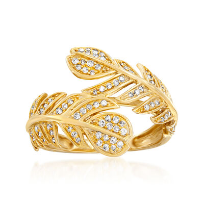 .35 ct. t.w. Diamond Leaf Bypass Ring in 14kt Yellow Gold