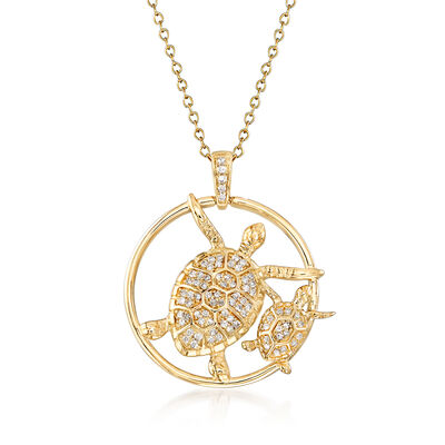 .25 ct. t.w. Diamond Big and Small Turtle Pendant Necklace in 14kt Yellow Gold