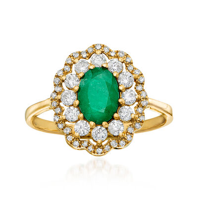 .80 Carat Emerald and .50 ct. t.w. Diamond Ring in 14kt Yellow Gold
