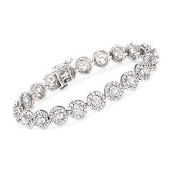 10.00 ct. t.w. Diamond Halo Bracelet in 14kt White Gold, , default