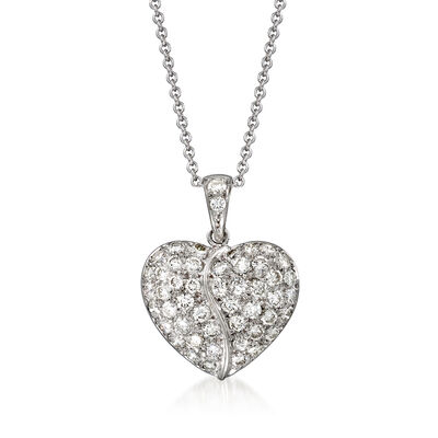 C. 1990 Vintage 1.45 ct. t.w. Diamond Heart Pendant Necklace in 18kt and 14kt White Gold