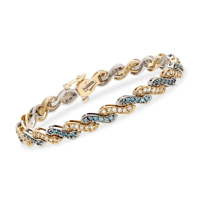 """3.70 ct. t.w. Alternating Blue and White Diamond Wave Bracelet in 14kt Two-Tone Gold. 7"""""""