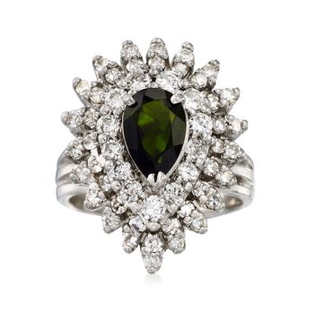 C. 1970 Vintage 1.00 Carat Green Tourmaline and 1.35 ct. t.w. Diamond Ring in 14kt White Gold. Size 6.5, , default