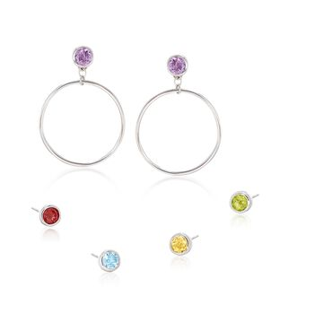 Sterling Silver Jewelry Set: Drop Earring Jackets and Five Pairs of Gemstone Stud Earrings , , default