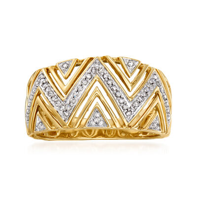.15 ct. t.w. Diamond Open-Space Chevron Ring in 14kt Yellow Gold