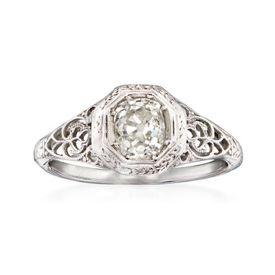 C. 1930 Vintage .75 Carat Diamond Ring in 18kt White Gold