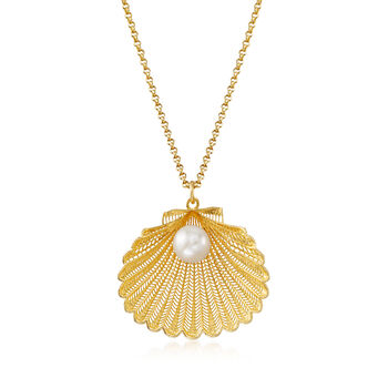 Italian Cultured Pearl Seashell Pendant Necklace in 18kt Gold Over Sterling Silver, , default