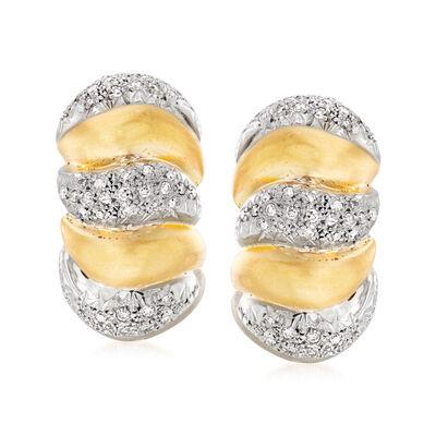 C. 1980 Vintage 1.65 ct. t.w. Diamond Shrimp Earrings in 18kt Two-Tone Gold, , default