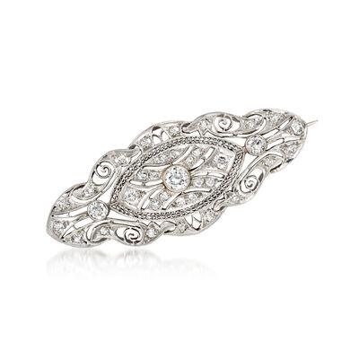 C. 1950 Vintage 1.55 ct. t.w. Diamond Filigree Pin in Platinum