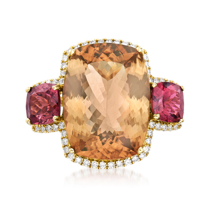 19.40 ct. t.w. Orange and Pink Tourmaline and .42 ct. t.w. Diamond Ring in 14kt Yellow Gold