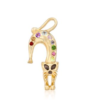 ".53 ct. t.w. Multi-Stone Cat Pin Pendant Necklace in 14kt Gold Over Sterling. 18"", , default"