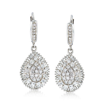 2.00 ct. t.w. Round and Baguette Diamond Teardrop Earrings in 14kt White Gold