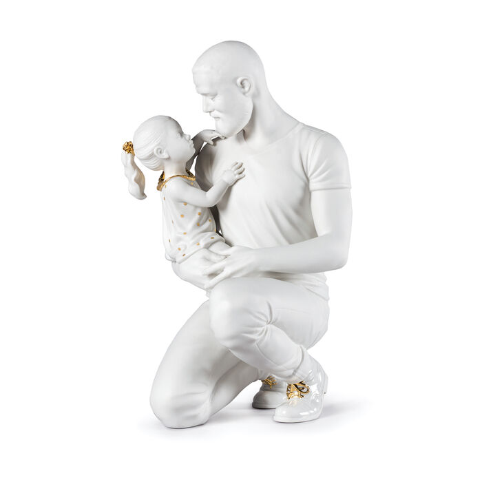 Lladro White and Gold Father and Child Porcelain Figurine: in Daddy's Arms, , default
