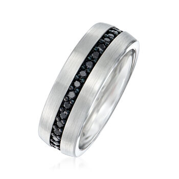 Men's 1.00 ct. t.w. Black Sapphire Eternity Wedding Ring in Tungsten Carbide