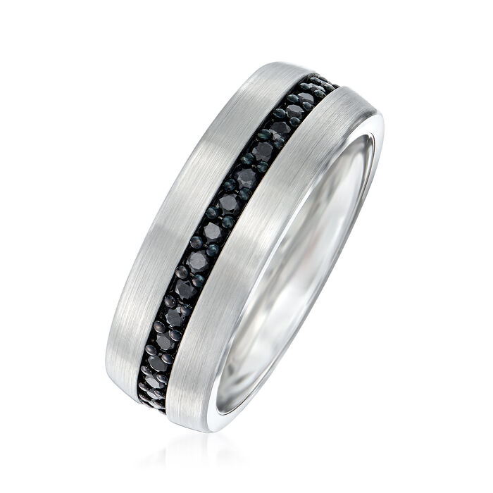 Men's 1.00 ct. t.w. Black Sapphire Eternity Wedding Ring in Tungsten Carbide