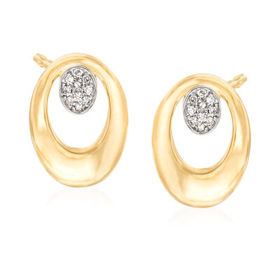 14kt Yellow Gold Open-Space Oval Earrings with Diamond Accents, , default