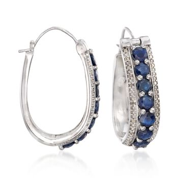 "4.20 ct. t.w. Sapphire and .20 ct. t.w. Diamond Oval Hoop Earrings in Sterling Silver. 1 1/8"", , default"