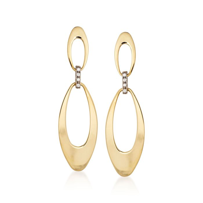 """Roberto Coin """"Chic & Shine"""" 18kt Two-Tone Gold Link Drop Earrings with Diamond Accents, , default"""