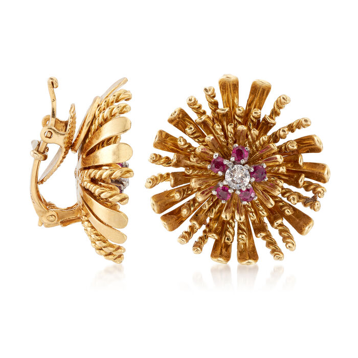 C. 1960 Vintage .30 ct. t.w. Ruby, .25 ct. t.w. Diamond Floral Clip-On Earrings in 18kt Yellow Gold