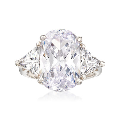 10.00 ct. t.w. Oval and Trillion-Cut CZ Ring in Sterling Silver, , default