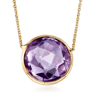 4.00 Carat Bezel-Set Amethyst Necklace in 14kt Yellow Gold, , default