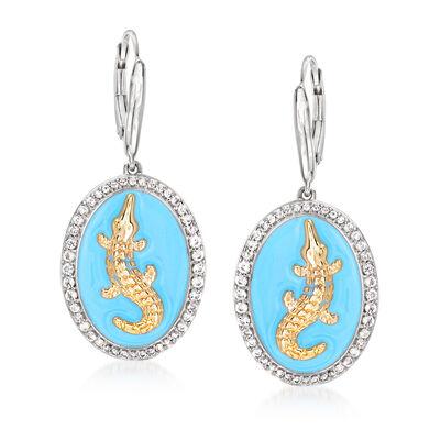 .70 ct. t.w. White Topaz and Blue Enamel Alligator Drop Earrings in Two-Tone Sterling Silver, , default