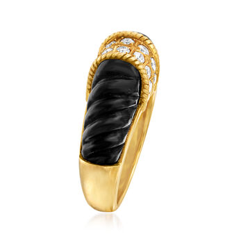 C. 1980 Vintage Black Onyx and .50 ct. t.w. Diamond Ring in 18kt Yellow Gold. Size 6.5, , default