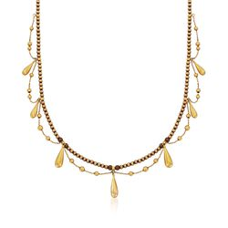"""C. 1900 Vintage 14kt and 18kt Yellow Gold Beaded Teardrop Necklace. 16.5"""", , default"""