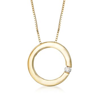 """14kt Yellow Gold Open Circle Necklace With Diamond Accent. 18"""", , default"""
