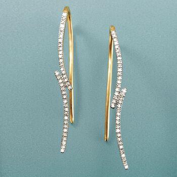 .10 ct. t.w. Diamond Curve Earrings in 14kt Yellow Gold, , default