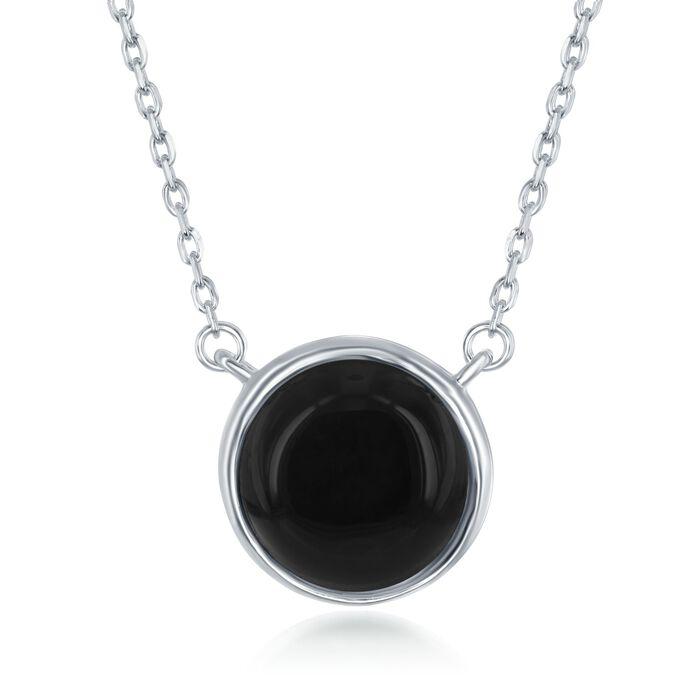 """Bezel-Set Black Onyx Necklace in Sterling Silver. 17.5"""", , default"""