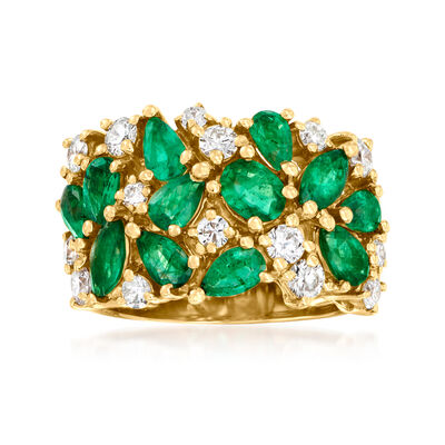 2.70 ct. t.w. Emerald and .85 ct. t.w. Diamond Ring in 14kt Yellow Gold