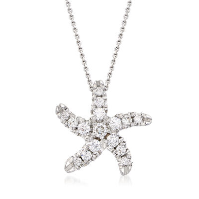 Roberto Coin .48 ct. t.w. Diamond Starfish Necklace in 18kt White Gold, , default