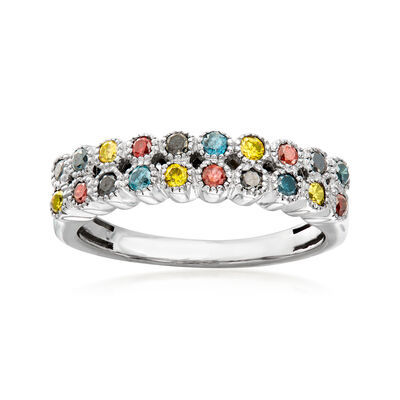 .50 ct. t.w. Multicolored Diamond Ring in Sterling Silver