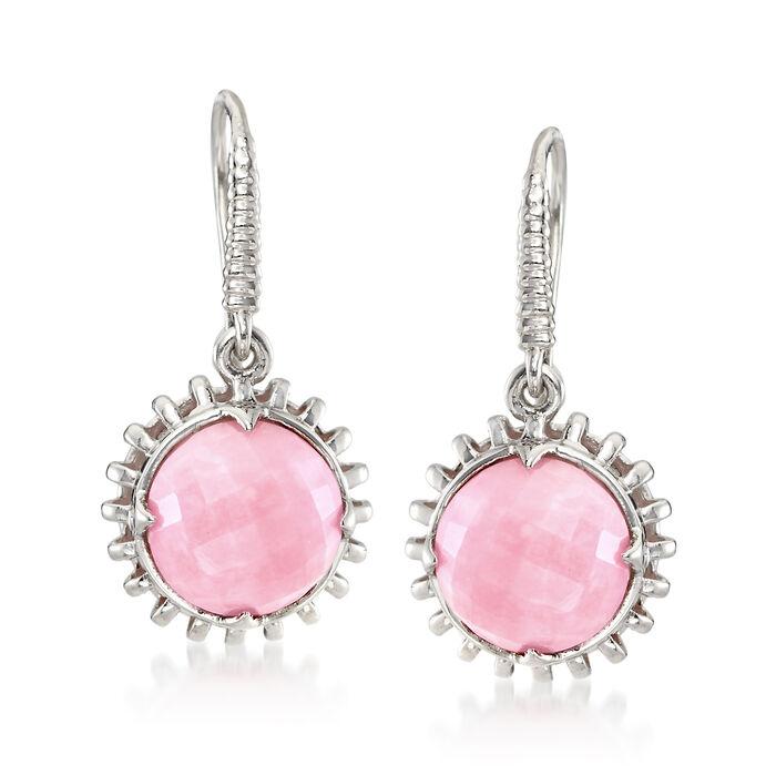 10mm Pink Opal Drop Earrings in Sterling Silver, , default