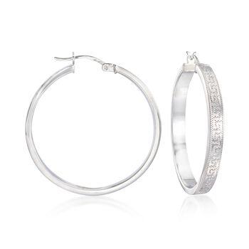 """Sterling Silver Greek Key Hoop Earrings. 1 3/8"""", , default"""