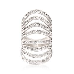 1.36 ct. t.w. CZ Multi-Row Knuckle Ring in Sterling Silver, , default