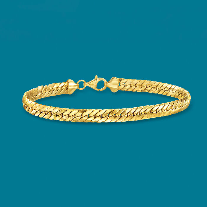 18kt Yellow Gold Over Sterling Silver Flat Cuban-Link Bracelet