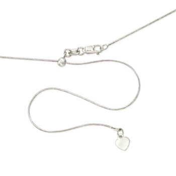 ".8mm 14kt White Gold Adjustable Snake Chain Necklace. 22"", , default"