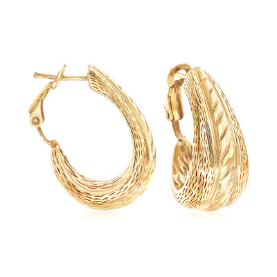 Italian 14kt Yellow Gold Wide Hoop Earrings, , default