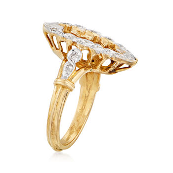 C. 1980 Vintage .30 ct. t.w. Diamond Navette Ring in 14kt Yellow Gold. Size 5.5, , default