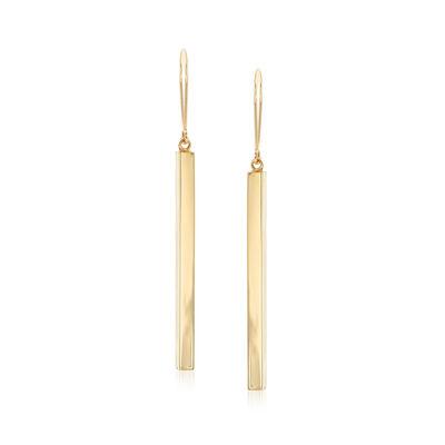 14kt Yellow Gold Elongated Bar Drop Earrings, , default
