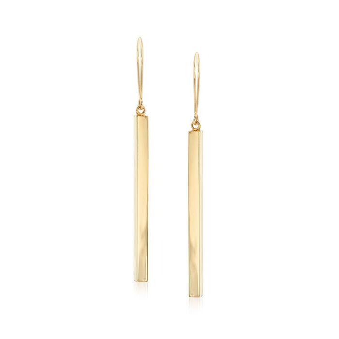 14kt Yellow Gold Elongated Bar Drop Earrings , , default