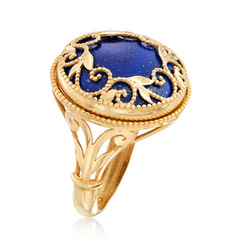Italian Lapis Filigree Ring in 14kt Yellow Gold