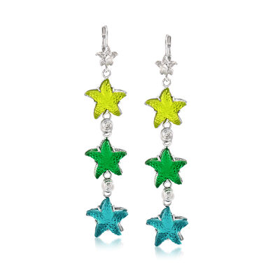 Italian Green and Blue Venetian Glass Triple-Starfish Drop Earrings in Sterling Silver