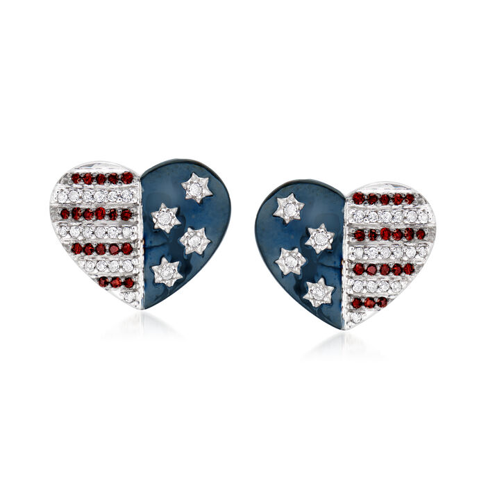 .25 ct. t.w. Red and White Diamond American Flag Heart Earrings in Sterling Silver