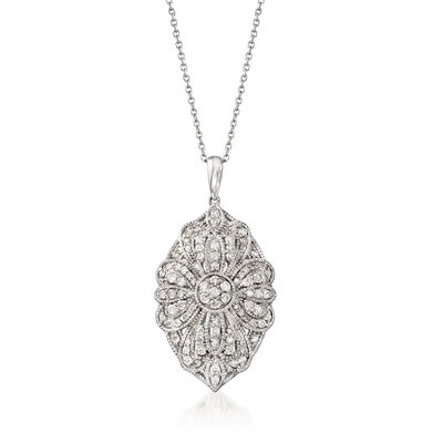 1.00 ct. t.w. Diamond Floral Pendant Necklace in Sterling Silver