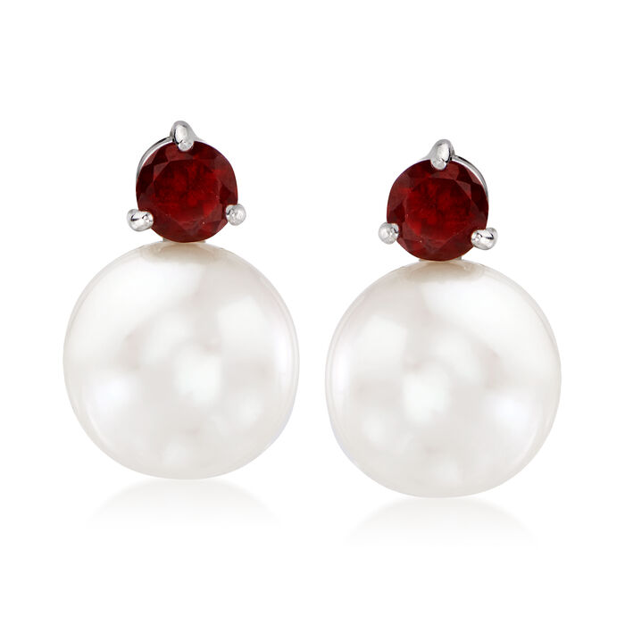 11-12mm Cultured Pearl and 1.00 ct. t.w. Garnet Earrings in Sterling Silver